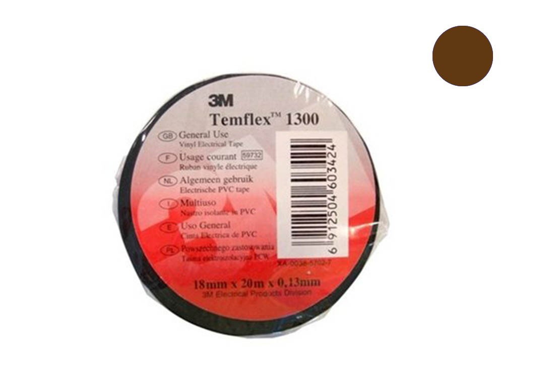 Temflex 1300 Лента изоляционная коричн. 15мм 10м