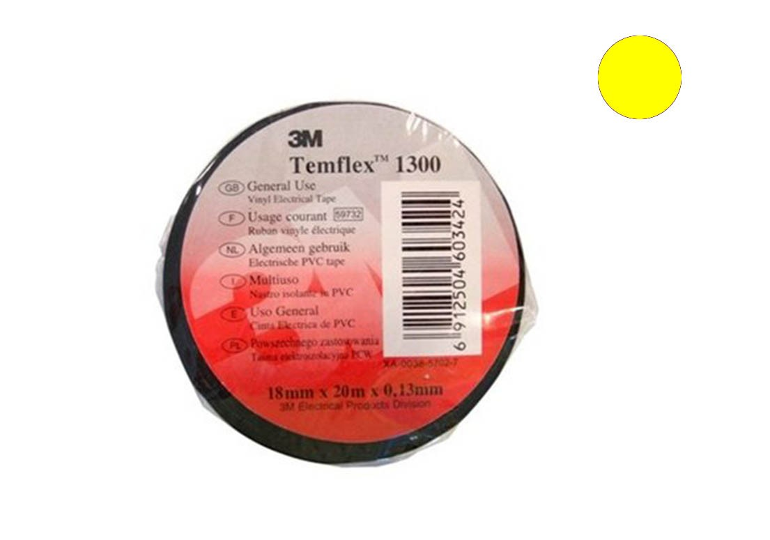 Temflex 1300 Лента изоляционная желтая 15мм 10м