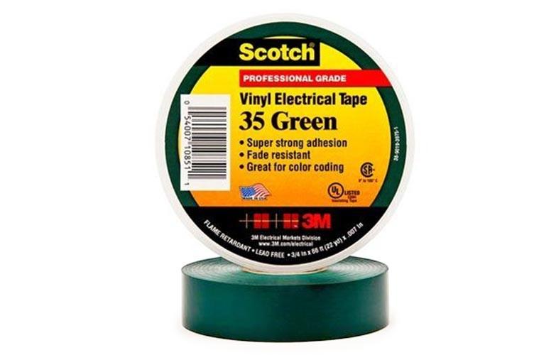 Scotch 35 Лента изоляционная зеленая 19мм 20м